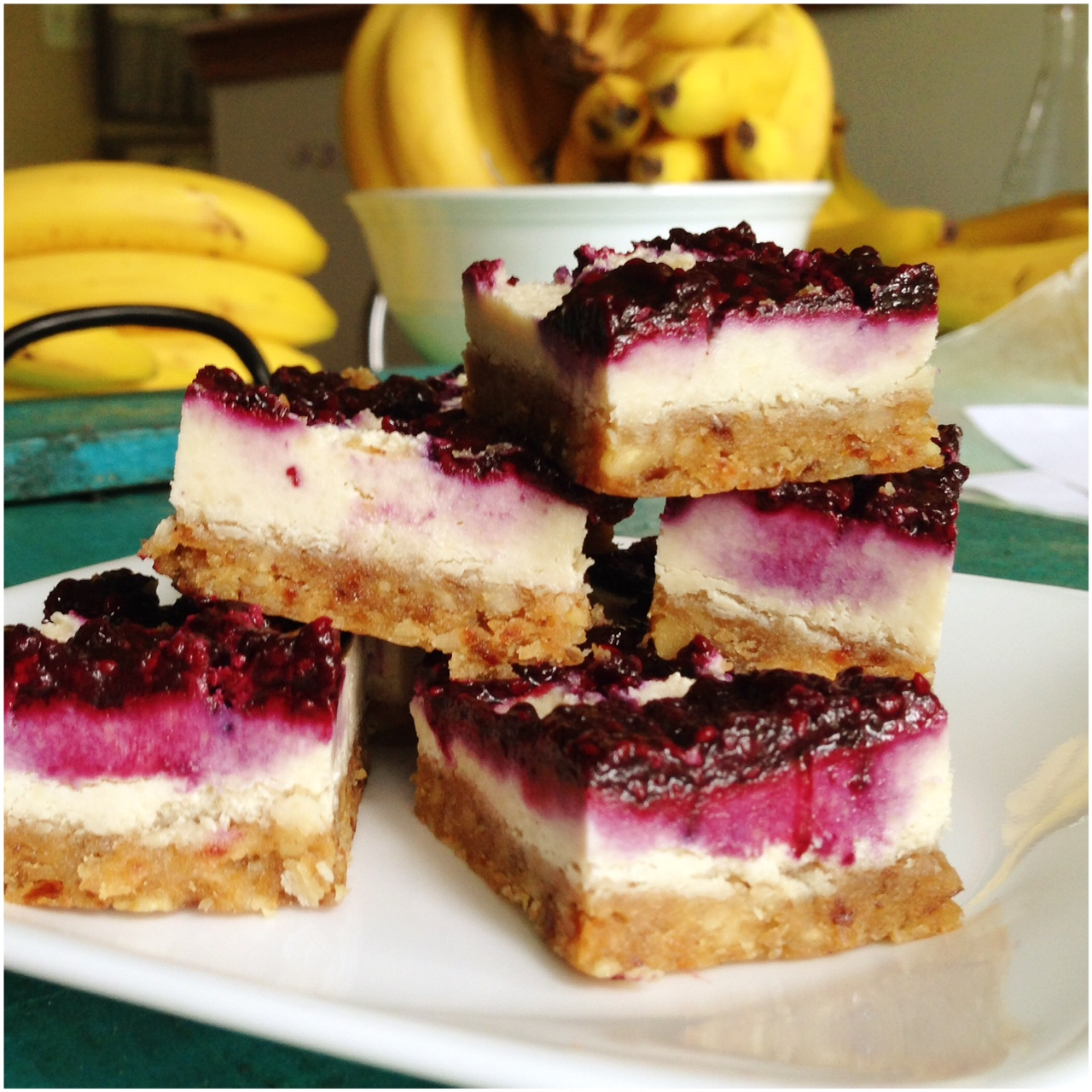 Raspberry Cheesecake Bars raw vegan Eat More Plants